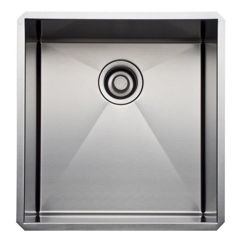 Rohl RSS1718 Luxury Stainless Steel 18-1/2 Inch Single Bowl Kitchen or Bar/Food Prep Sink