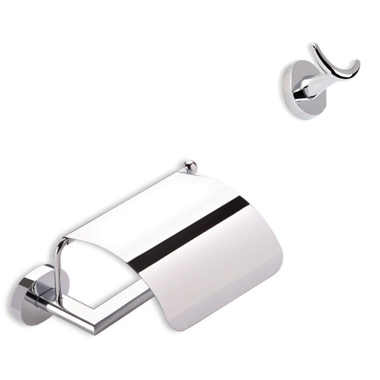 STILHAUS DIA325 DIANA TOILET ROLL HOLDER AND ROBE HOOK SET