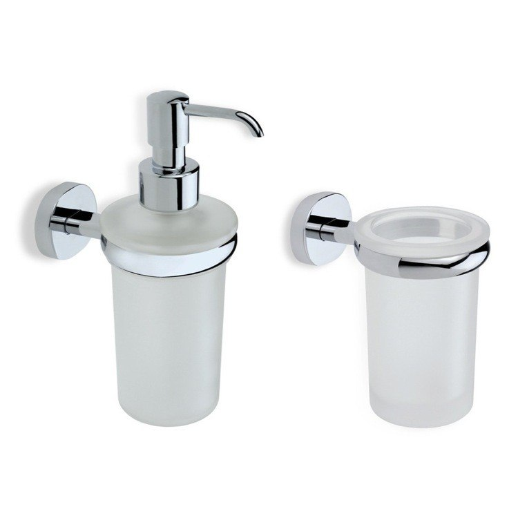 STILHAUS DIA500 DIANA CHROME TOOTHBRUSH TUMBLER AND SOAP DISPENSER ACCESSORY SET