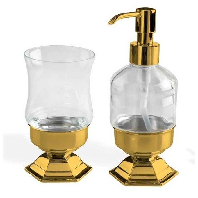 STILHAUS MA500-16 MARTE GOLD TOOTHBRUSH TUMBLER AND SOAP DISPENSER ACCESSORY SET