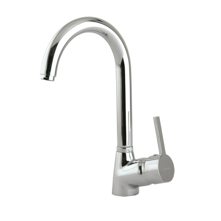 Ramon Soler US-3306 Drako Brass Single Hole Kitchen Sink Faucet with Rounded Swivel Spout in Chrome