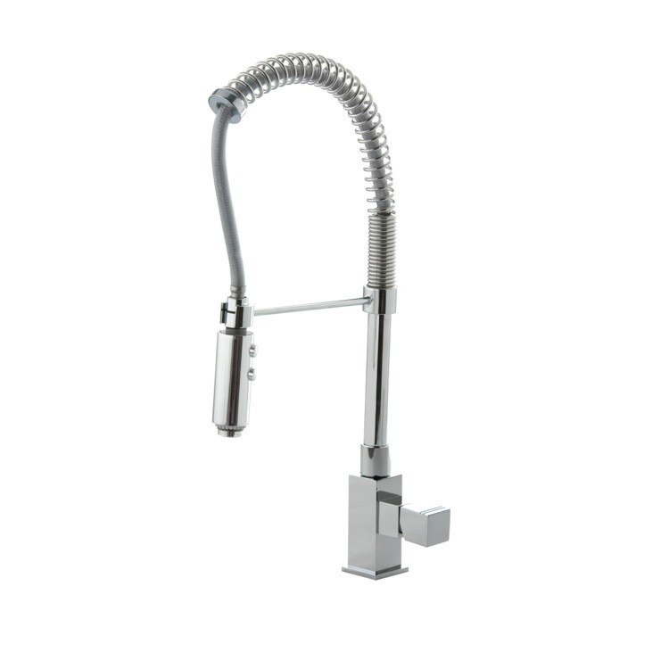 Ramon Soler US-4766 Kuatro Brass Single Hole Kitchen Faucet with Pull-Out Spout in Chrome