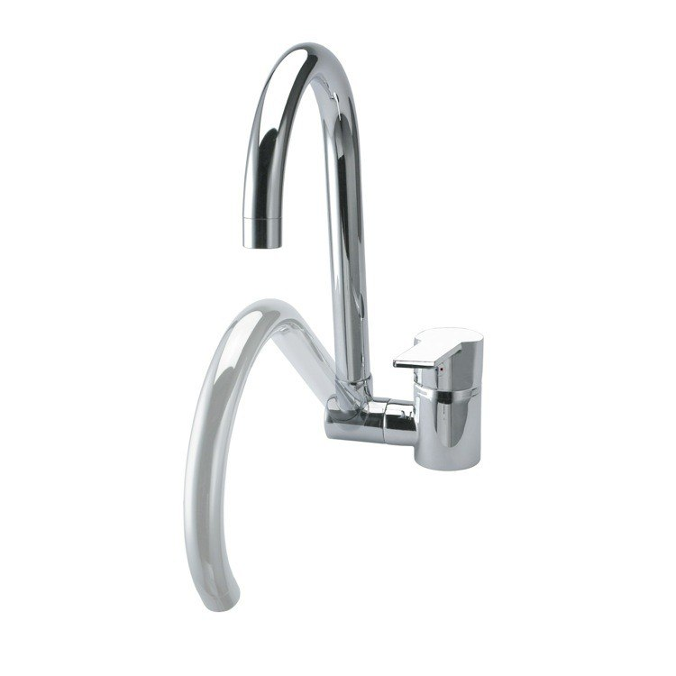 Ramon Soler US-9369 Rs-Q Brass Single Hole Kitchen Sink Faucet with Swivel and Folding Spout in Chrome