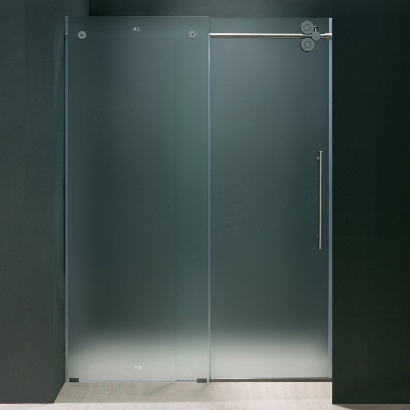 Vigo Vg6041chmt6074r 60 Inch Frameless Shower Door Frosted Glass