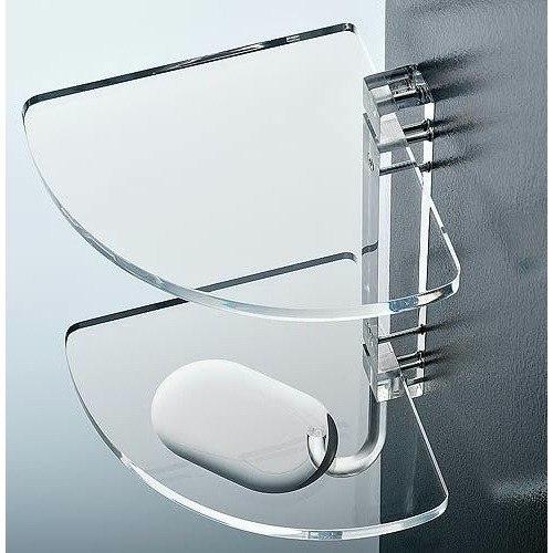 TOSCANALUCE 0606 CORNER 10.1 INCH PLEXIGLASS TRIPLE CORNER BATHROOM SHELF WITH ROBE HOOK