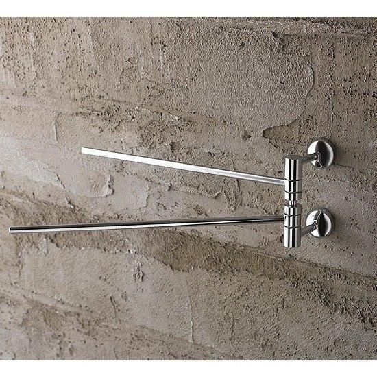 Toscanaluce 1519 Riviera 12 Inch Polished Chrome Double Arm Swivel Towel Bar
