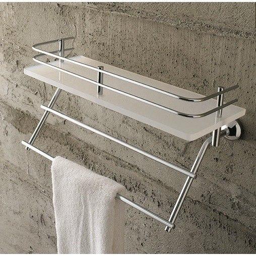 TOSCANALUCE 1538 RIVIERA 12.99 INCH PLEXIGLASS 13 INCH BATH BATHROOM SHELF WITH RAILING AND TOWEL BAR