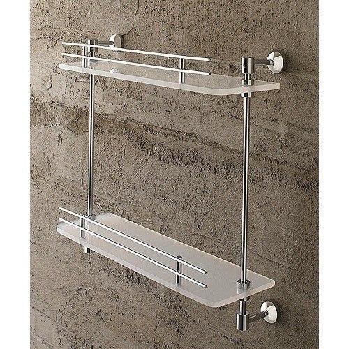Toscanaluce 1542 Riviera 16 Inch Double Tier Plexiglass Bathroom Shelf with Railing