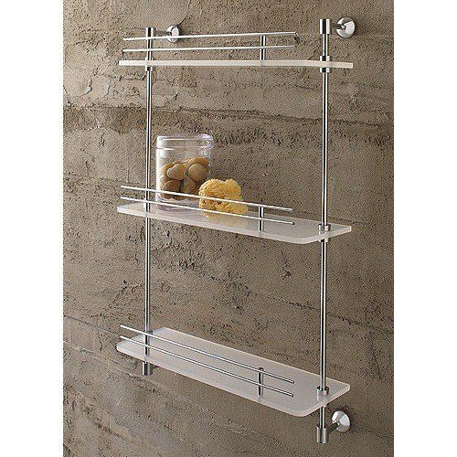 Toscanaluce 1543 Riviera 16 Inch Triple Tier Plexiglass Bathroom Shelf with Railing
