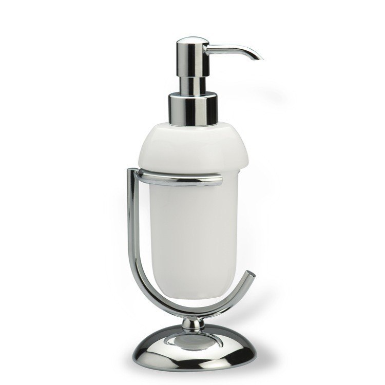 STILHAUS 522 ZOE COUNTER CERAMIC SOAP DISPENSER WITH CHROME BASE