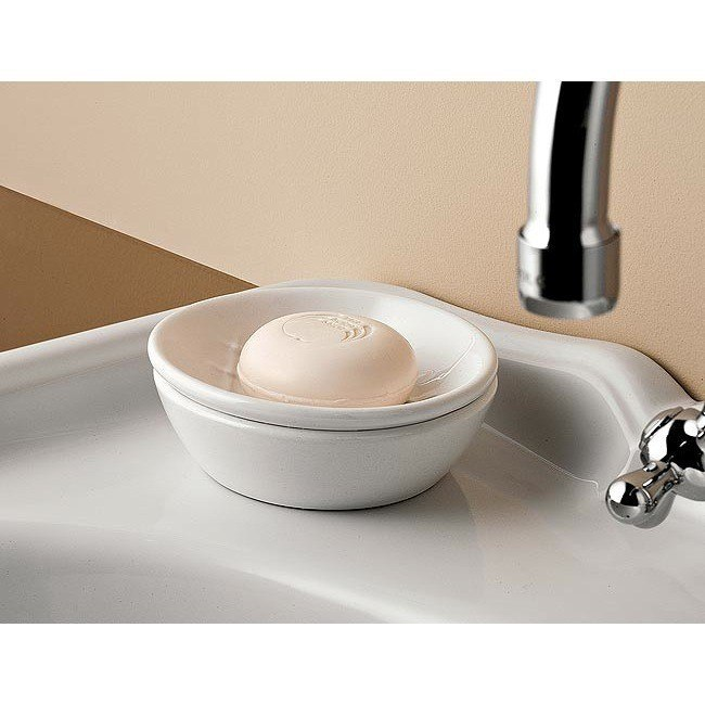 Toscanaluce 6871 Queen Classic-Style White Round Ceramic Soap Dish