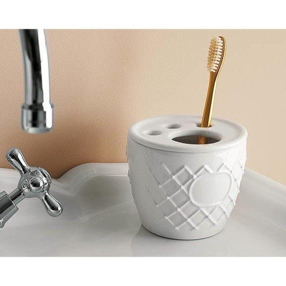 Toscanaluce 6872 Queen Classic-Style Transparent Round Ceramic Toothbrush Holder