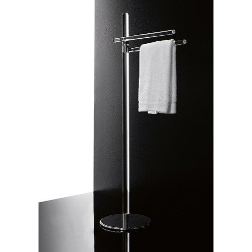 TOSCANALUCE 780 ORCHIDEA 18 INCH FREE STANDING PLEXIGLASS TOWEL STAND WITH CHROME BASE
