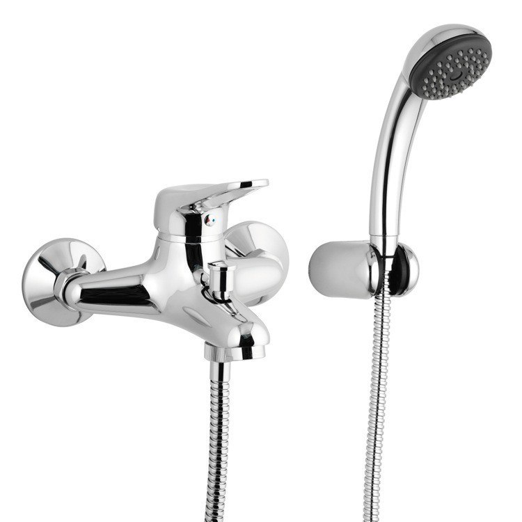 REMER K02 KISS WALL MOUNTED SINGLE-LEVER BATH MIXER WITH BRACKET AND HAND SHOWER IN CHROME