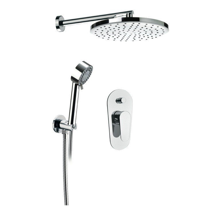 REMER L09LS02US CLASS LINE CHROME SHOWER SET WITH SHOWER HEAD, HAND SHOWER AND MIXER