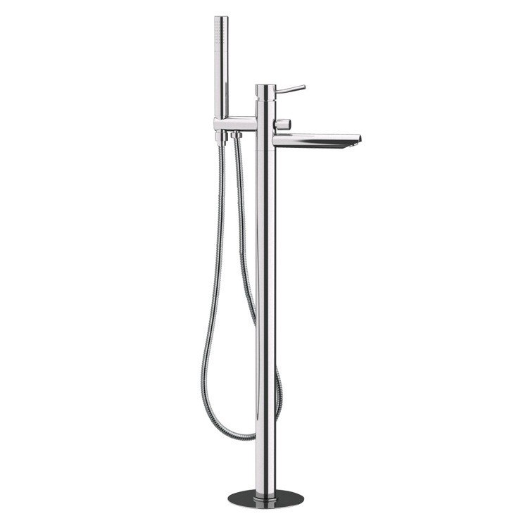 Remer N08 Minimal Floor Mounted Bath Mixer With Diverter and Shower ...