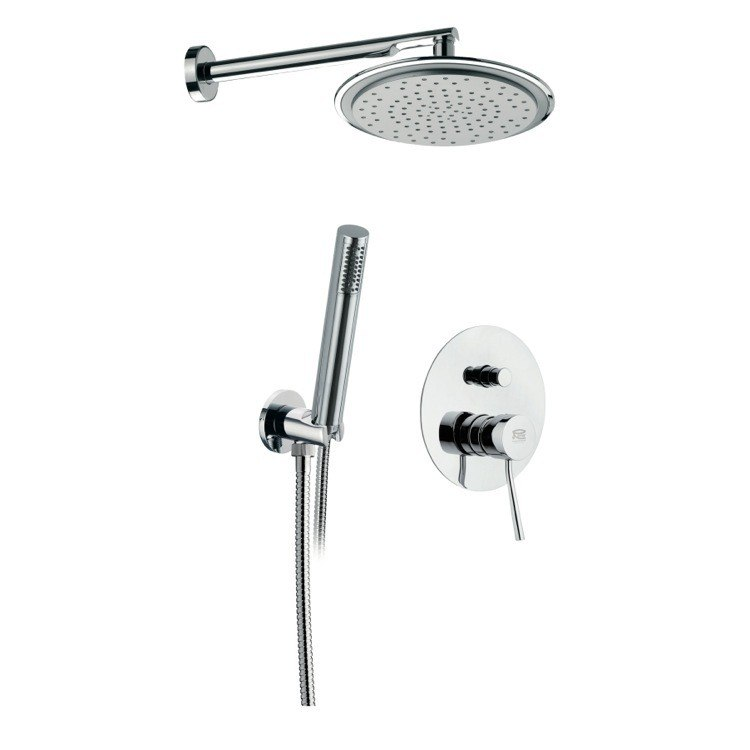 REMER N09S02 MINIMAL BRASS SHOWER KIT WITH OVERHEAD SHOWER, HAND SHOWER, AND SINGLE LEVER IN CHROME