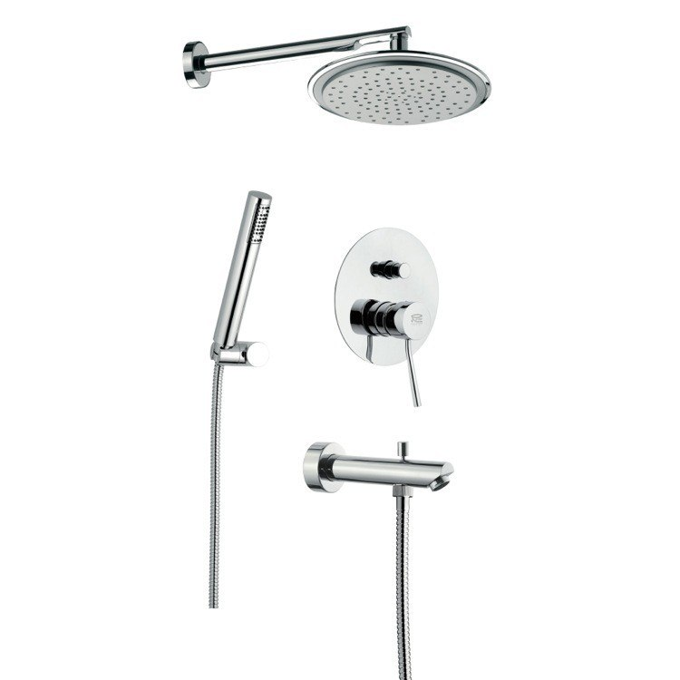 REMER N09S03 MINIMAL WALL-MOUNTED SHOWER SET WITH OVERHEAD SHOWER, HAND SHOWER, FAUCET AND SINGLE LEVER IN CHROME