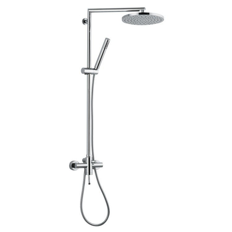 REMER N37BXL MINIMAL WALL-MOUNTED SHOWER SYSTEM WITH OVERHEAD SHOWER, SLIDING RAIL, AND HAND SHOWER IN CHROME