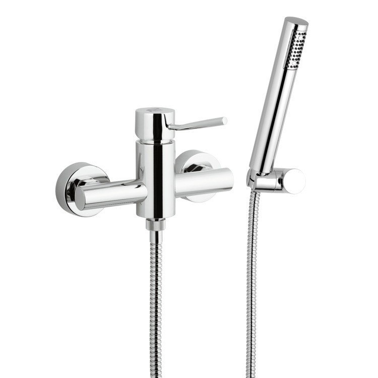REMER N39 MINIMAL CHROME WALL-MOUNTED SHOWER MIXER WITH HAND SHOWER AND HOLDER