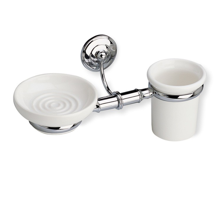 STILHAUS N14 NEMI WALL MOUNTED CLASSIC CERAMIC SOAP DISH AND TOOTHBRUSH HOLDER