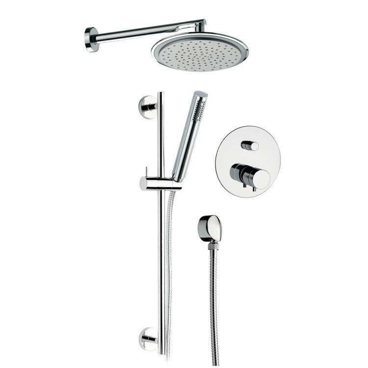 REMER NT09S01US MINIMAL THERMAL SHOWER SET WITH SHOWERHEAD, SLIDING BAR, HANDSHOWER, DIVERTER, AND HOSE IN CHROME