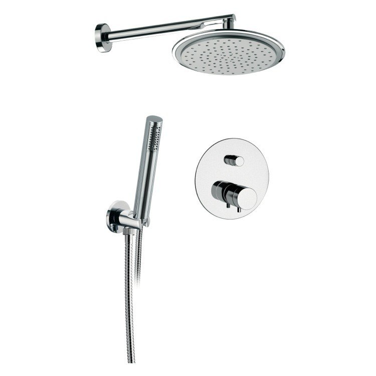 REMER NT09S02US MINIMAL THERMAL SHOWER SET WITH SHOWERHEAD, HANDSHOWER, BUILT-IN MIXER AND DIVERTER, AND HOSE IN CHROME