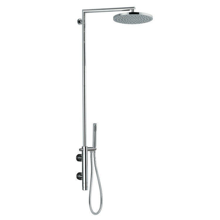 REMER NT36BXLUS MINIMAL THERMAL EXTERNAL THERMOSTATIC SHOWER SINGLE LEVER MIXER SHOWER SET WITH HAND SHOWER AND SHOWER HEAD IN CHROME