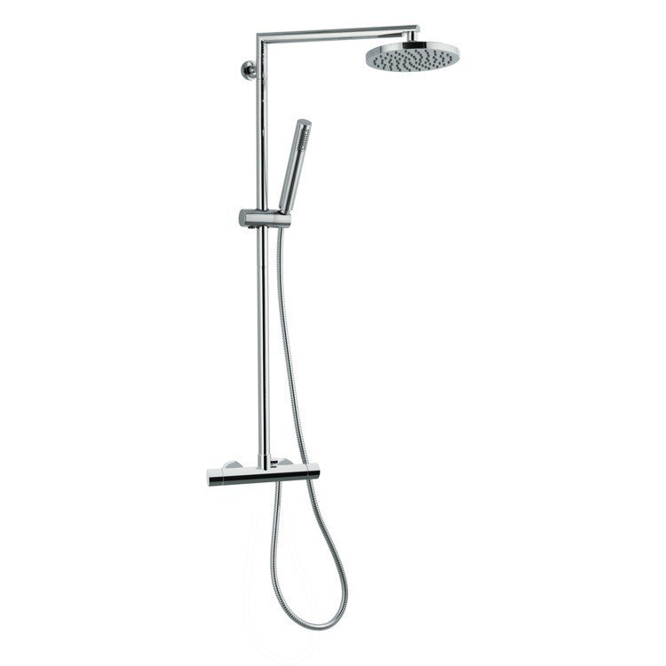 REMER NT37BUS MINIMAL THERMAL EXTERNAL SINGLE LEVER THERMOSTATIC SHOWER SET WITH HAND SHOWER AND SHOWER HEAD IN CHROME
