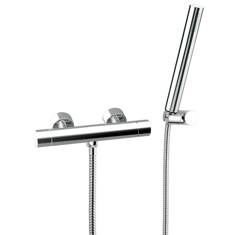 REMER NT39US MINIMAL THERMAL THERMOSTATIC SINGLE LEVER SHOWER MIXER WITH HAND SHOWER AND BRACKET IN CHROME