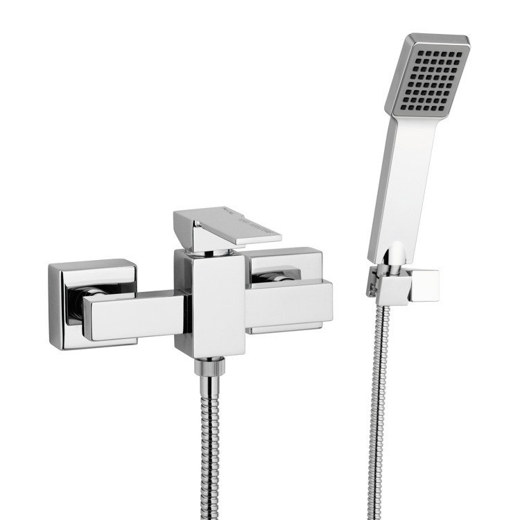 REMER Q39US QUBIKA WALL MOUNTED SHOWER MIXER WITH HAND SHOWER AND BRACKET IN CHROME