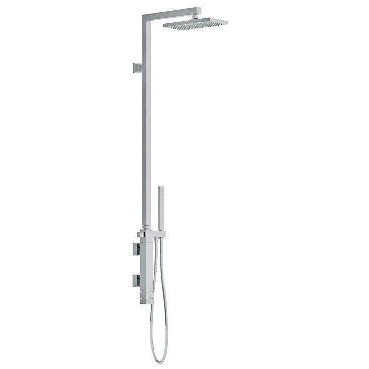 REMER QT36US QUBIKA THERMAL SHOWER SET WITH SINGLE LEVER MIXER, DIVERTER, HAND SHOWER, AND BRASS COLUMN WITH SHOWER HEAD IN CHROME