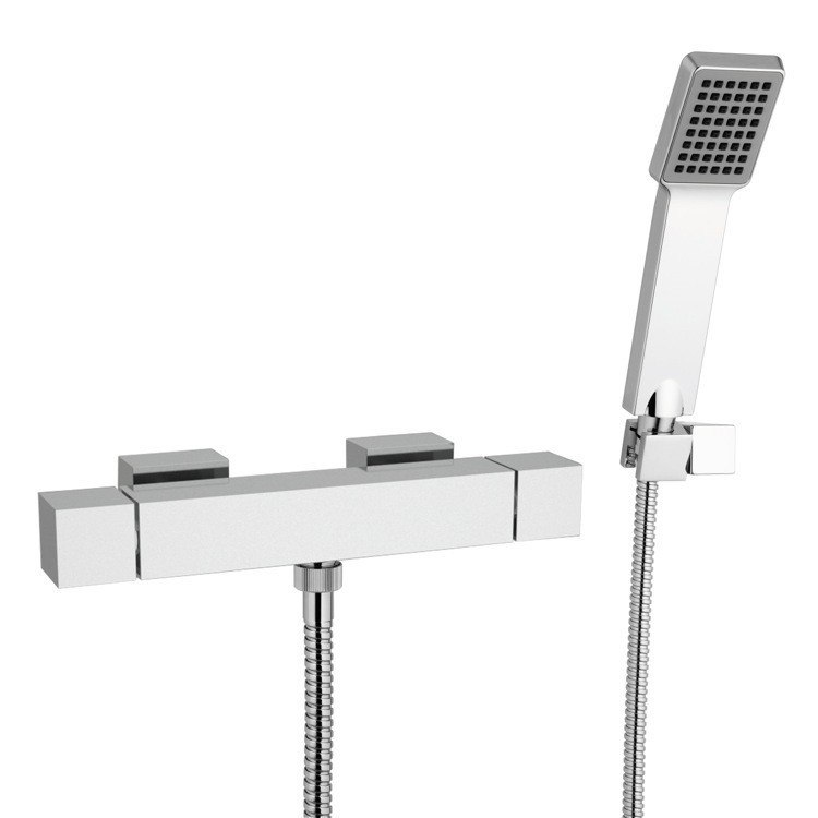 REMER QT39US QUBIKA THERMAL THERMOSTATIC WALL MOUNTED SHOWER MIXER WITH HAND SHOWER AND BRACKET IN CHROME