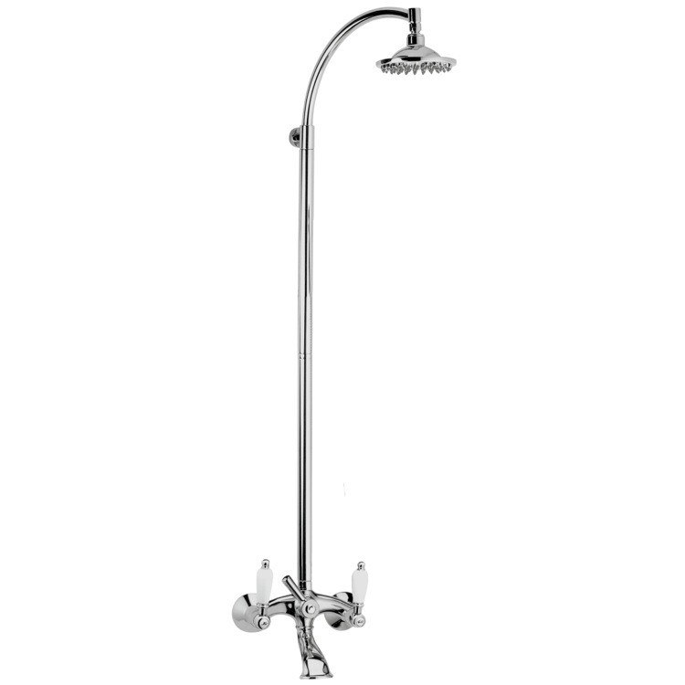 REMER LR08US RETRO BATHTUB MIXER WITH COLUMN AND SHOWER HEAD IN BRASS IN CHROME