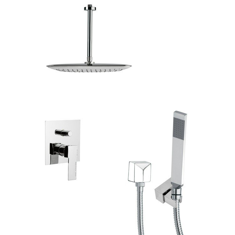 REMER SFH6018 ORSINO SQUARE SHOWER FAUCET SET WITH HAND SHOWER IN CHROME