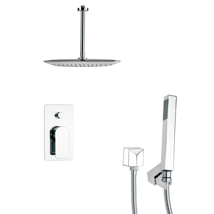 REMER SFH6020 ORSINO SQUARE CHROME SHOWER FAUCET WITH HANDHELD SHOWER