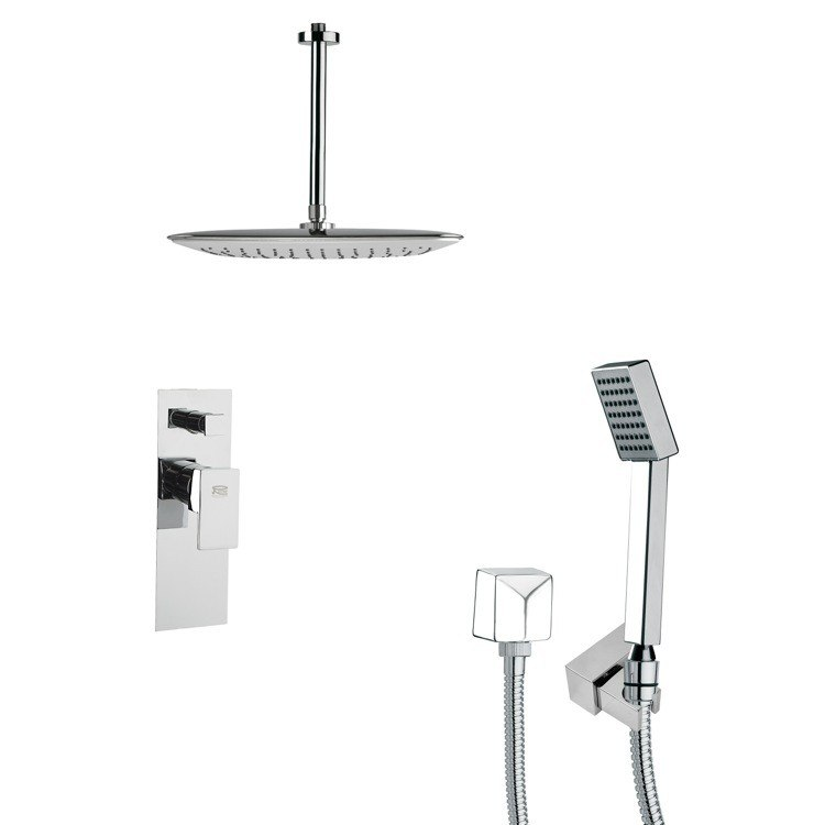 REMER SFH6021 ORSINO MODERN SQUARE POLISHED CHROME SHOWER SYSTEM
