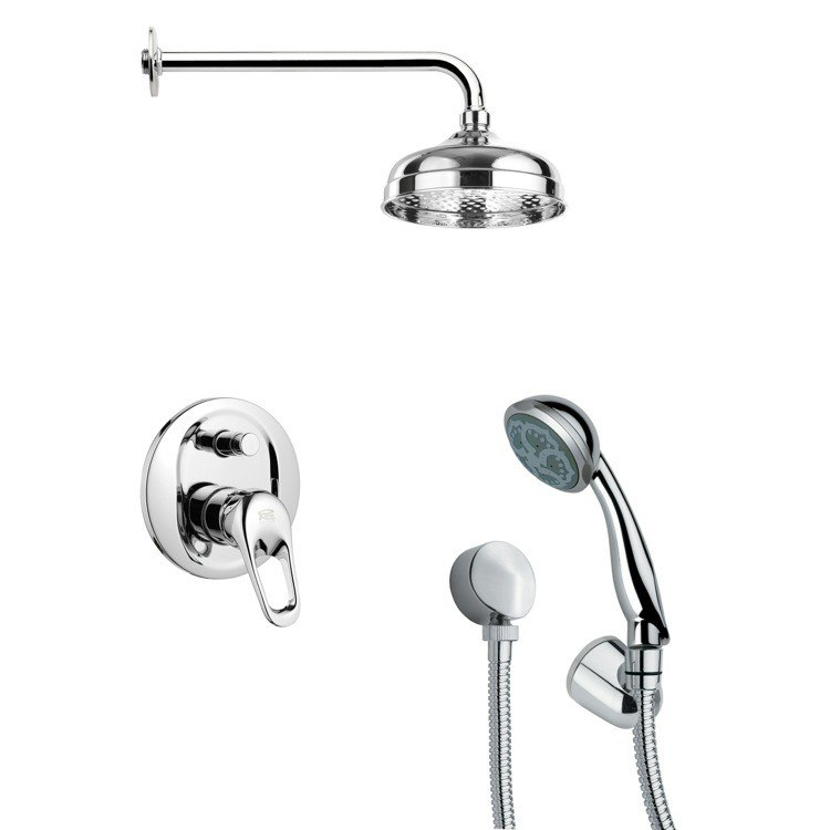 REMER SFH6026 ORSINO ROUND CHROME SHOWER FAUCET WITH HANDHELD SHOWER