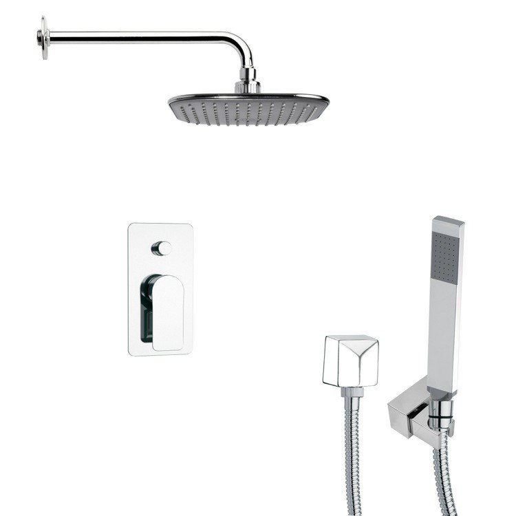 REMER SFH6035 ORSINO CONTEMPORARY SQUARE SHOWER FAUCET WITH HAND SHOWER IN CHROME