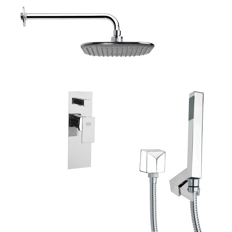 REMER SFH6037 ORSINO SQUARE SHOWER FAUCET WITH HAND SHOWER IN CHROME