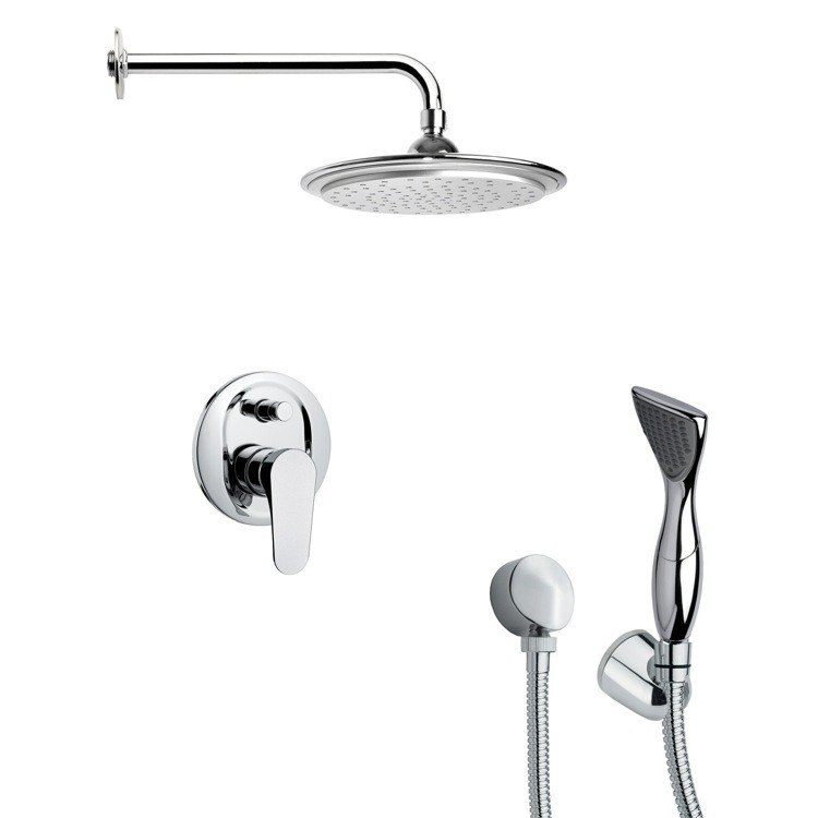 REMER SFH6042 ORSINO CONTEMPORARY ROUND SHOWER FAUCET WITH HAND SHOWER IN CHROME
