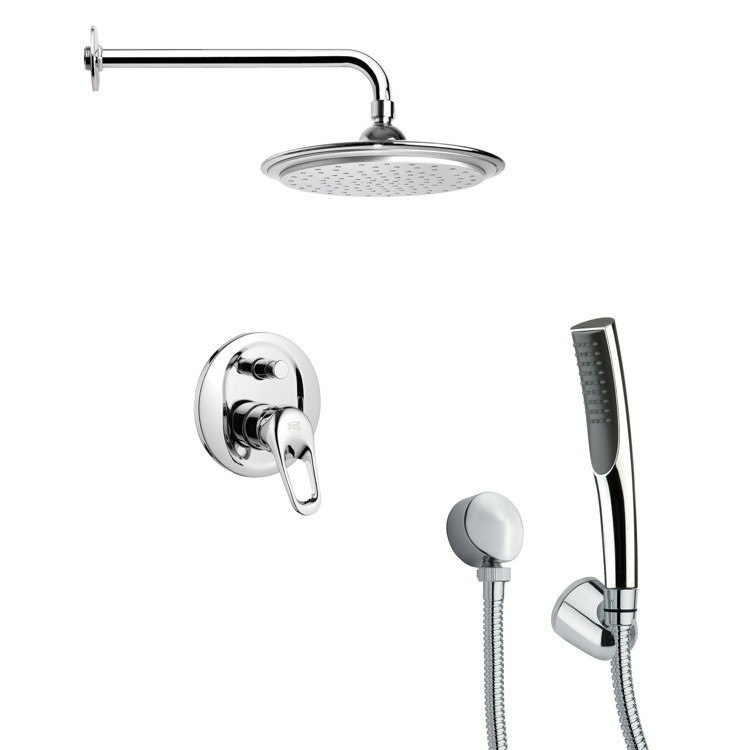REMER SFH6043 ORSINO ROUND MODERN CHROME SHOWER FAUCET WITH HAND SHOWER