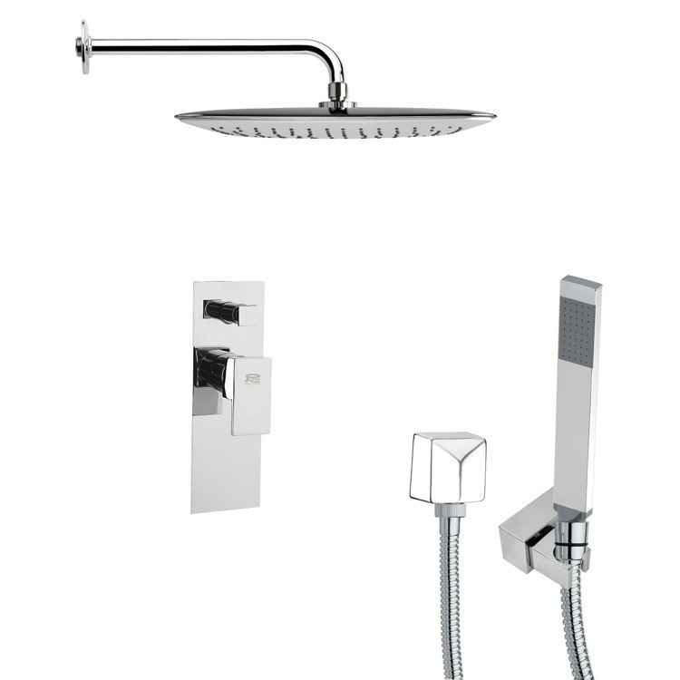 REMER SFH6057 ORSINO SQUARE CHROME SHOWER FAUCET WITH HANDHELD SHOWER