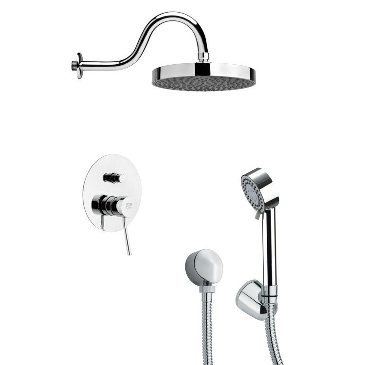 REMER SFH6063 ORSINO ROUND SLEEK SHOWER FAUCET SET WITH HAND SHOWER IN CHROME