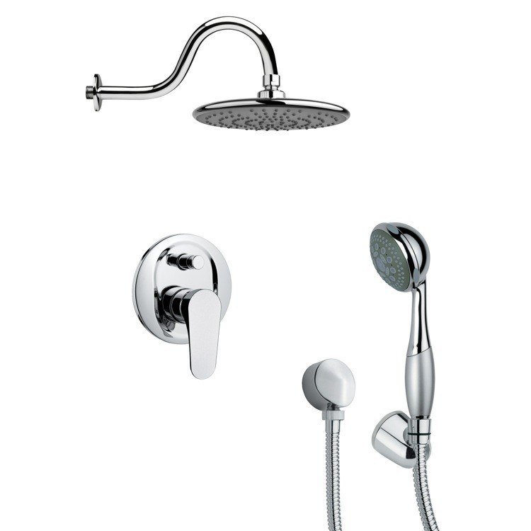 REMER SFH6073 ORSINO ROUND CONTEMPORARY SHOWER FAUCET WITH HAND SHOWER IN CHROME