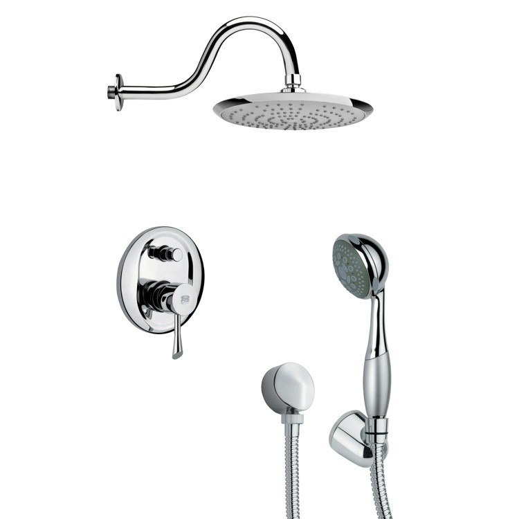 REMER SFH6078 ORSINO MODERN ROUND SHOWER FAUCET SET WITH HAND SHOWER IN CHROME