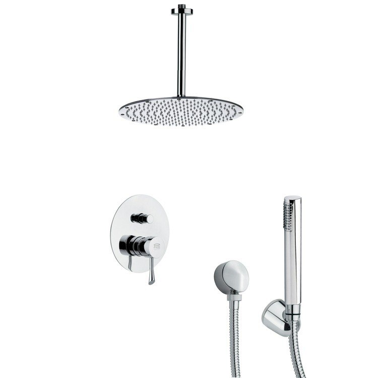 REMER SFH6095 ORSINO CHROME ROUND SHOWER FAUCET SET WITH HANDHELD SHOWER