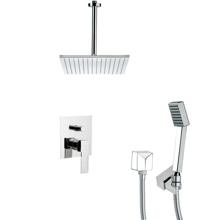 REMER SFH6097 ORSINO CHROME SQUARE SHOWER FAUCET WITH HANDHELD SHOWER