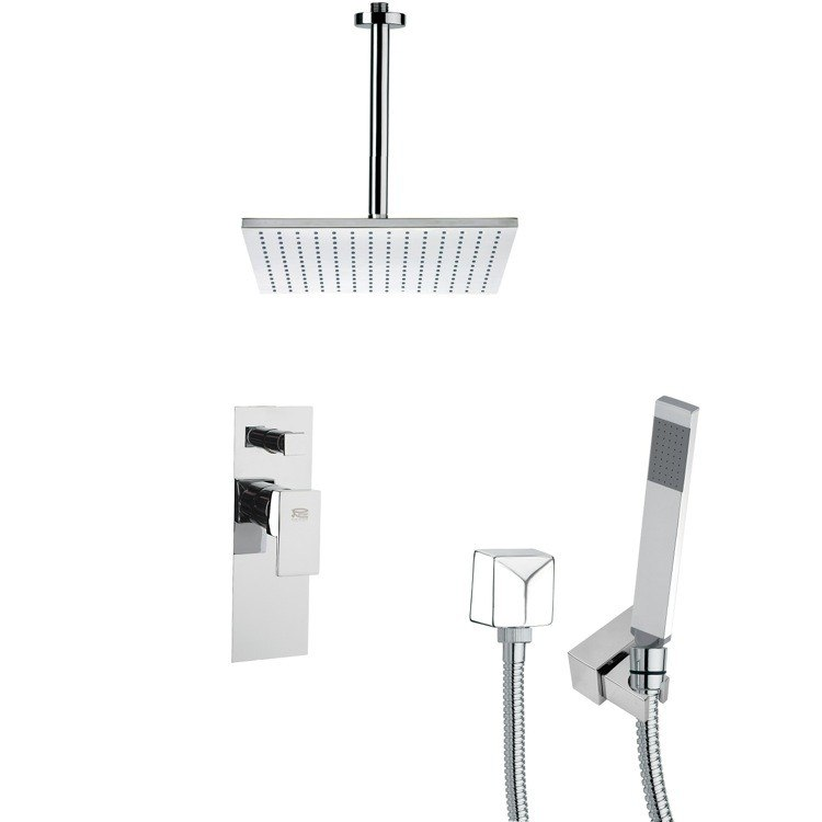 REMER SFH6098 ORSINO SQUARE SHOWER FAUCET SET WITH HANDHELD SHOWER