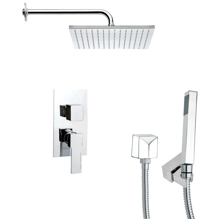 REMER SFH6099 ORSINO SQUARE SHOWER FAUCET SET WITH HAND SHOWER IN CHROME